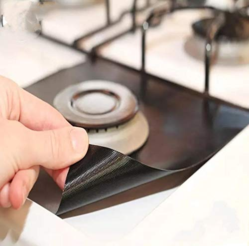 Gas Stove Burner Protector Gas Hob Liner | NO Mess Gas Top | 4 Pieces in a Packet | Brown Color