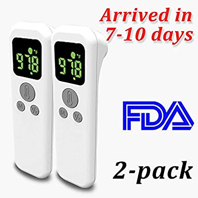 Forehead Thermometer for Adults Kids Baby, Infrared Digital Non-Contact Accurate Instant Readings Forehead Thermometer with LCD Display No Touch 2 Pack
