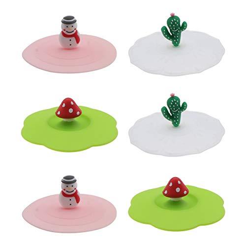 UPKOCH 3 Piezas de Silicona Glasabdeckung Taza Tapa Taza Taza Sbdeckung Tornillo Tapa Taza Protectora (Zufälliges Modelo), 6pcs, pequeño