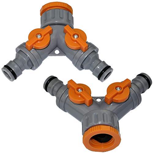 AERZETIX - Juego de 2 Racores/selectores con Grifo/válvula de Parada 1/2'' y 3/4'' a 1/2'' de 2 vías para Manguera de riego - derivación en Y - Distribuidor/Separador/Divisor - plástico - C47467