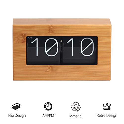 Bamboo Flip Clock, HauptDécor Tischuhr, Modern Mini Uhr, Retro Auto Flip Down Uhr, Digitaluhren für Wohnzimmer Dekor Batteriebetrieben,Schwarz