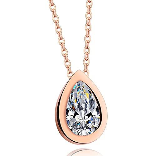 collar Collar Con Colgante De Gota De Agua De Cristal Transparente De Acero Inoxidable De Color Oro Rosa, Collares Y Colgantes De Circonita Para Mujer