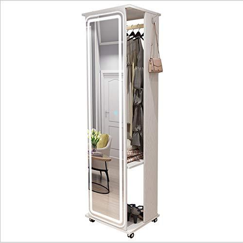 Specchio stereo con memorizzazione multifunzionale, specchio a figura intera Soggiorno in stile nordico Specchio da pavimento Dormitorio Camera da letto rimovibile (Dimensioni: 47x170cm)