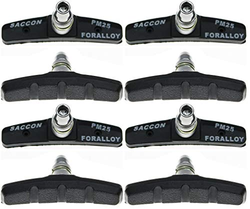 P4B | 4 Paar V-Brake Bremsschuhe für Fahrräder | Modell PM25 | 70 mm | für alle Witterungen | Symmetrisch | mit Bolzen, mit Gewinde und Befestigungsteile
