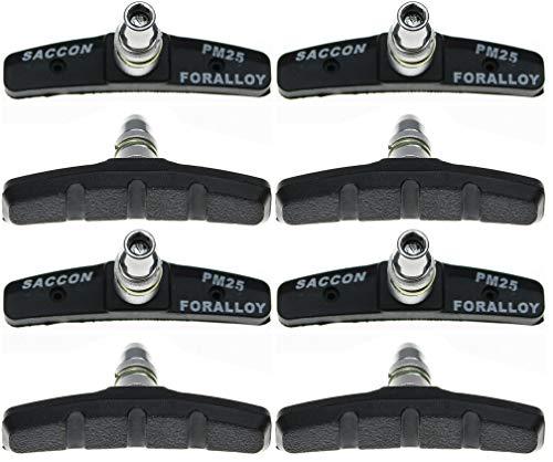 Saccon | V-Brake Bremsschuhe-Set mit 4 Paar (8 Stück) | Modell PM25 | 70 mm | für alle Witterungen | symmetrisch | mit Bolzen, mit Gewinde und Befestigungsteile | in Schwarz