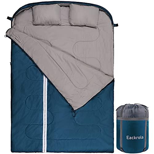 Eackrola Double Sleeping Bag (Sea Blue-Polyester, Use Above 46℉)