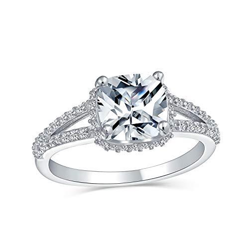 3CT cuadrado cojín corte amarillo AAA CZ anillo de compromiso para las mujeres split Shank banda rosa oro chapado 925 plata de ley