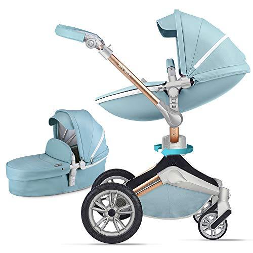 Silla de paseo Hot Mom 3 en 1 Reversibilidad rotación multifuncional de 360 grados con asiento y capazo 2018 Nueva actualización - azul