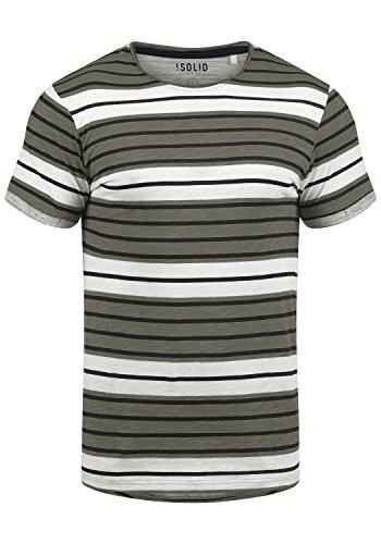 !Solid Sergej Herren T-Shirt Kurzarm Shirt mit Streifen und Rundhalsausschnitt, Größe:L, Farbe:Mid Grey (2842)