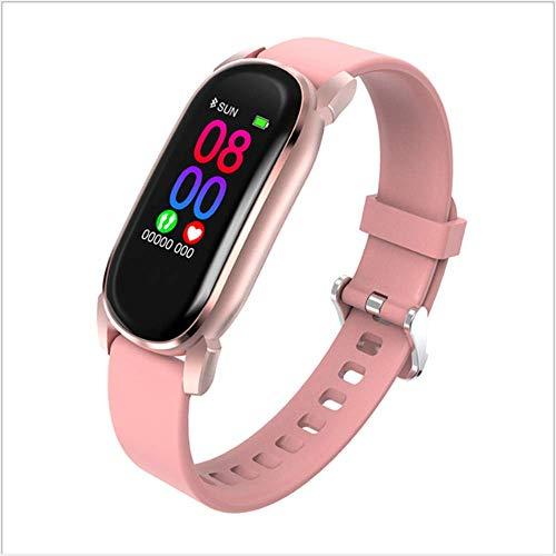 Lichaamstemperatuur Smart Armband Temperatuurmeting + Heart Rate + Blood Pressure + Sleep Monitoring Touch Waterdicht Temperatuurmeting Horloge,Pink