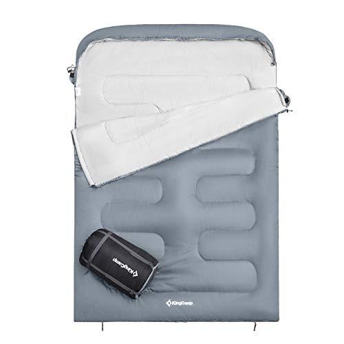 KingCamp Oasis 250 XL 2 Personen Doppel Decken Schlafsack Camping 2,35 m Lang -3 Mid Grey