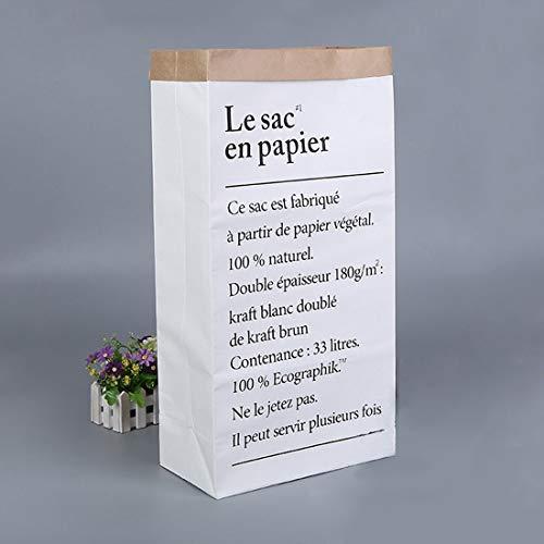 X-Labor Papiersack Kraftpapier Beutel Mülleimer Papiertüte Paper Bag Kinderzimmer Spielzeug Aufbewahrungsbox Weiß Braun (Motiv-AA)