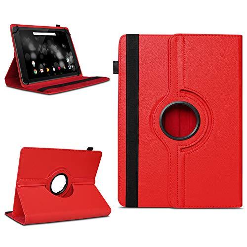 NAmobile Schutzhülle kompatibel für TrekStor Primetab P10 Tablet Hülle Tasche Case Cover 360 Drehbar, Farben:Rot