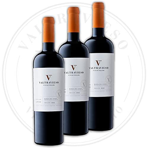 Valtravieso Crianza - Vino Tinto Ribera del Duero Denominación de Origen/Vino de Páramo, Tinto Fino (99%) y Cabernet Sauvignon (1%), Pack Lote de 3 Botellas x 750 ml