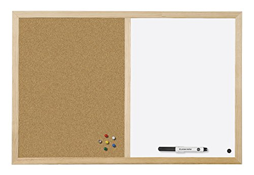 Bi-Office Budget - Pizarra Combinada de Doble Uso Blanca y Corcho, Marco de Pino, 60 x 45 cm