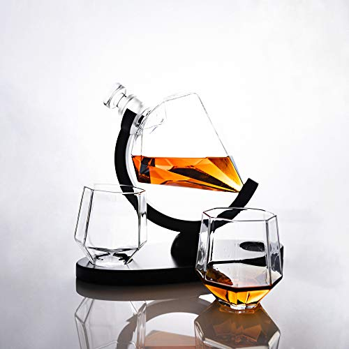 Fathers Day Gifts Whiskey Decanter Set with Glasses ARMZAS for Men and Women Diamond Decanter with 2 Drink Glasses and Wooden Stand, Cool Luxury Decanter for Vodka Wine Whisky Liquor Bourbon