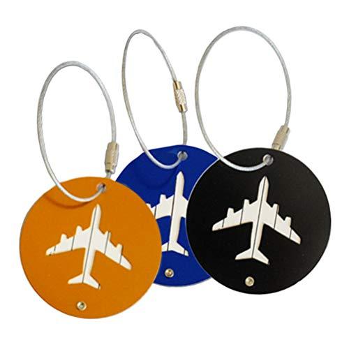Etiquetas de bagagem de alumínio Lioobo multicoloridas etiquetas de identificação de viagem etiqueta de bagagem para mala de viagem padrão avião 3 peças (preto, dourado e azul)