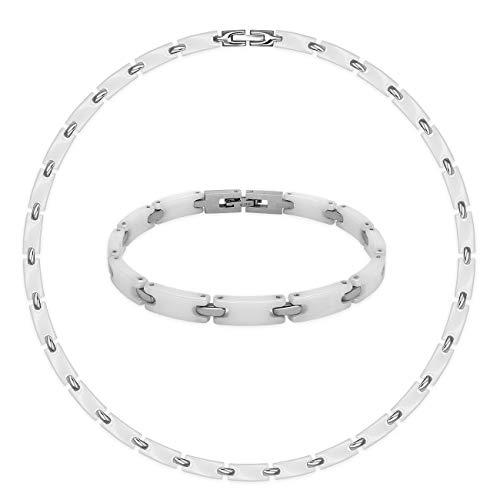 SoulCats® Set Collier und Armband aus Keramik in weiß Silber