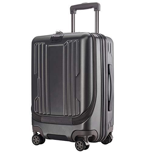 Roam.Cove スーツケース 前開き キャリーケース 機内持ち込み フロントオープン パソコン収納 軽量 静音 TSAロック ビジネス シンプル おしゃれ Sサイズ (グレー)