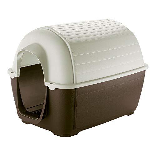 Ferplast Caseta de Exterior para Perros Kenny 05, Resina termoplástica Resistente a los Golpes y a los Rayos UV, Sistema de Drenaje de líquidos, Rejilla de ventilación, 70 x 100,6 x h 70,5 cm