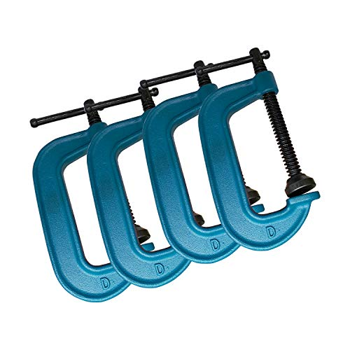 HFS(R) 4PC/PAK C Clamps Set, 6-inch C Clamps, Up To 6-Inch Jaw Opening, 2-3/4 Inch Throat Depth