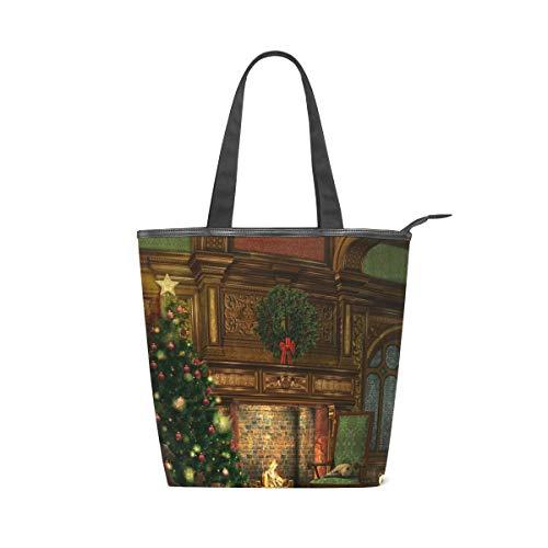 Dames Handtassen Winter Holiday Open Haard Kerstboom Tote Canvas Schoudertas