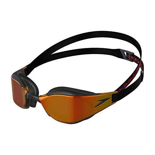 Speedo Fastskin Hyper Elite de Espejo Gafas de natación, Unisex-Adult, Negro/Oxid Grey/Fire Gold, Einheitsgröße