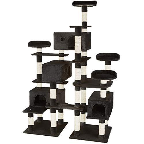 TecTake 800511 XXL Katzen Kratzbaum | Stämme komplett mit Kokosseil umwickelt | 214cm hoch - Diverse Farben (Schwarz | Nr. 402810)