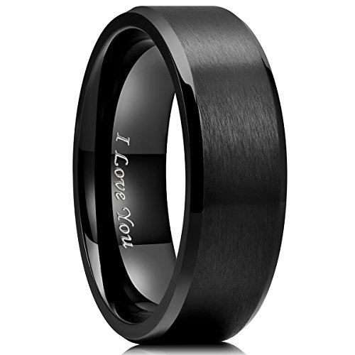 King Will BASIC 8mm Stainless Steel Ring Black Plated Matte Finish&Polished Beveled Edge with Laser Etched I Love You(13)