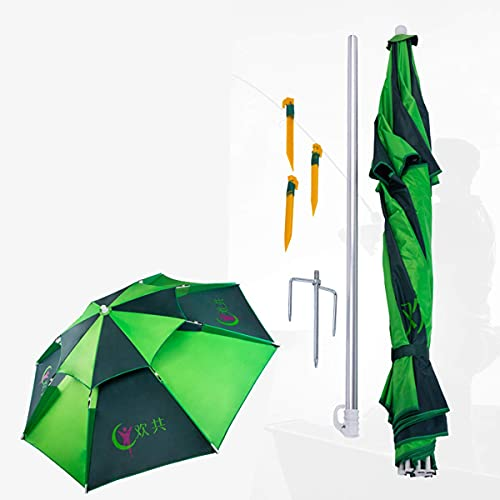 QULONG 7.2ft Folded Beach Umbrella With Sand Anchor Tilt Portable 360 Degree Adjustment, UV Protection, Commonly Used In Beach,Patio,Fishing Essential