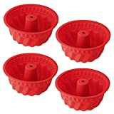 WENTS Silikon Gugelhupfform Ø 15 cm BPA-frei Silikon Backform für Köstlichen Gugelhupf Antihaft & Leicht zu Reinigen hochwertige Silikon Kuchenform 4 Stück
