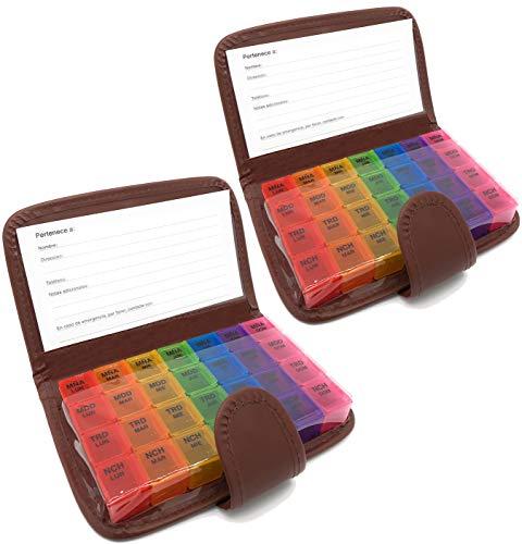 MovilCom® Pastillero semanal español 28 compartimentos 7 días, 2 pastilleros organizadores semanales 4 tomas diarias, estuche planificador semanal de pastillas colores - Marrón - 2 unidades