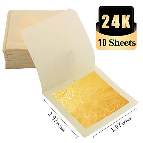 KINNO Echte Blattgold Essbar 24 Karat Goldfolie 5 * 5cm zum Basteln Lebensmittel Kuchen Backen Torten Dekorfolie Kunsthandwerk 10 Blatt