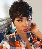 VRZ Short Wavy Human Hair Wigs with Bangs Pixie Cut Brazilian Hair Wigs Short Black Layered Wavy Wigs for Women 1B Color