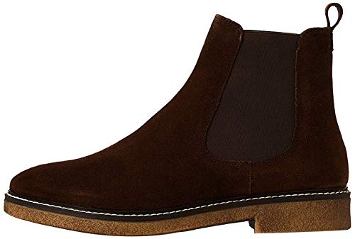 Marca Amazon - find. Leather Gumsole Botas Chelsea, Marrón Chocolate, 38 EU