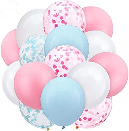 Kit de Guirnalda con Globos de Fiesta, 60 Piezas de Globos de látex Confeti para Bodas, Fiestas, Baby Shower Cumpleaños Decoraciones (Rosado Azul)