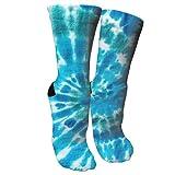ULQUIEOR Women's Bule Spiral Tie Dye Cotton Comfort Moisture Wicking Extra Heavy Cushion Novelty Athletic Crew Socks