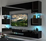 FURNITECH BESTA Möbel Schrankwand Wandschrank Wohnwand Mediawand mit Led Beleuchtung Wohnzimmer (LED weiß, DAN1-17B-HG20 1B)