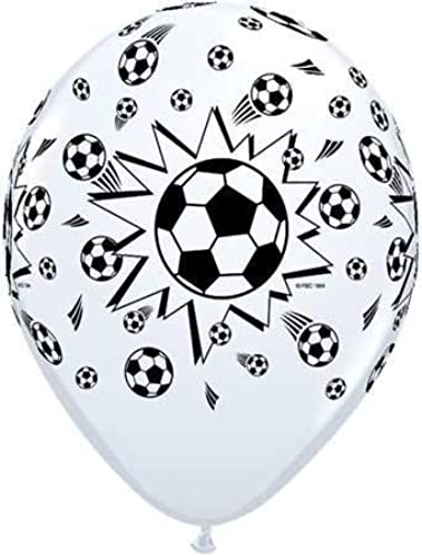 25 blanc printed Football   Soccer Balloons by Qualatex