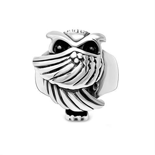 Anyeda Männer Ring Edelstahl Eulenring Silber Mood Ring Men Ringgröße 65 (20.7)