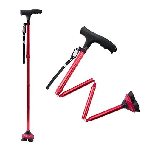 BigAlex Folding Walking Cane with LED Light,Pivoting Quad Base,Adjustable Walking Stick with Carrying Bag for Man/Woman (5.5'-6.3' Red )