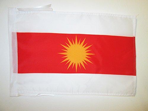 AZ FLAG Flagge JESIDEN YAZIDISM NEU 45x30cm mit Kordel - YEZIDEN KURDISCH EZIDEN Fahne 30 x 45 cm - flaggen Top Qualität