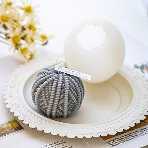 XKMY Molde redondo de silicona para tejer con forma de cilindro de lana, molde de silicona para manualidades navideñas, para manualidades, arcilla, aroma, vela de yeso, color (cilindro de lana)