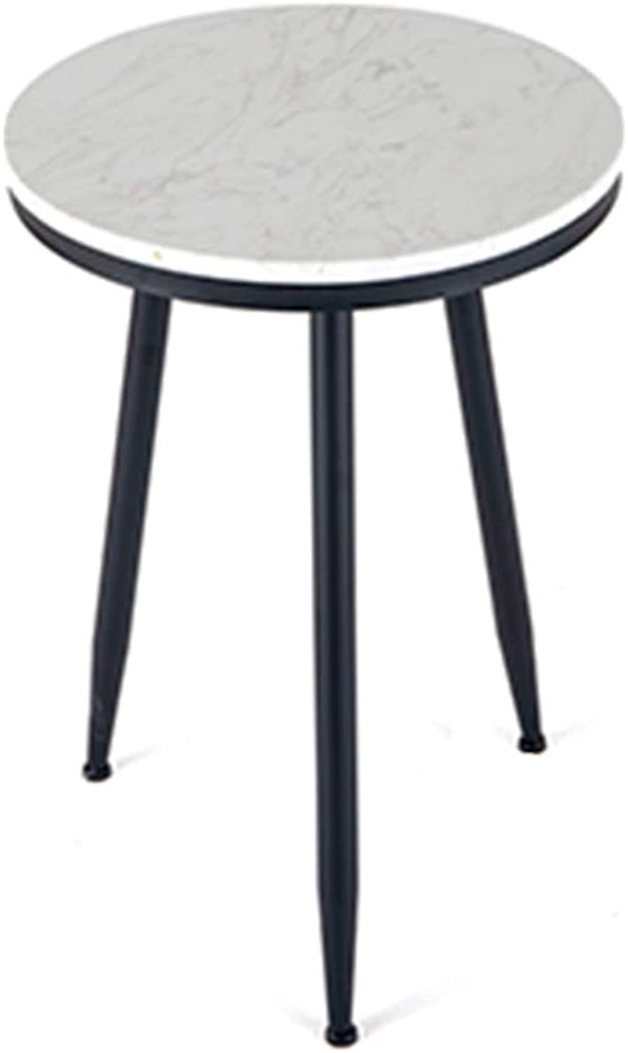 XIAOYAN End Table Marble + Wrought Iron Living Room Sofa Side Table Bedside Small Round Table Multi-Function Display Stand for Small Apartment gold Black Multifunction (color   Black)