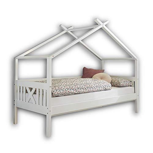 JULETTA Stilvolles Einzelbett 90 x 200 cm mit Himmelvorrichtung - Komfortables Jugendzimmer Bett aus massiver Kiefer, Weiß - 98 x 170 x 209 cm (B/H/T)