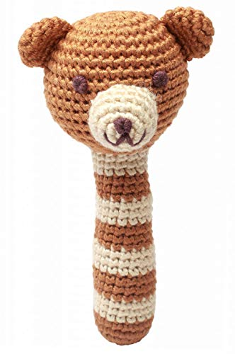 Handmade Baby Rassel gehäkelt Teddy Bär braun