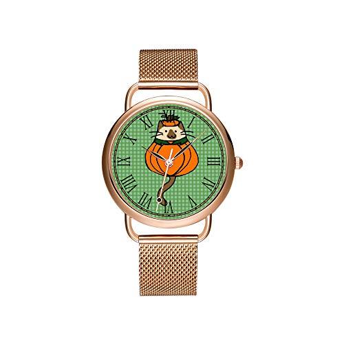 Frauen Uhren Marke Damen Mesh Gürtel ultradünne Uhr wasserdichte Uhr Quarzuhr Weihnachten Nette Halloween Katze Kürbis Kostüm Armbanduhren