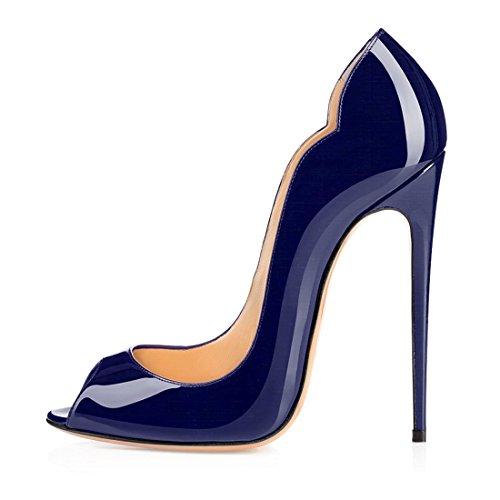 ELASHE - Zapatos de tacón - 12 CM Clásicas Tacones Altos - Boda Wedding Peep Toe Pumps Azul Marino EU44
