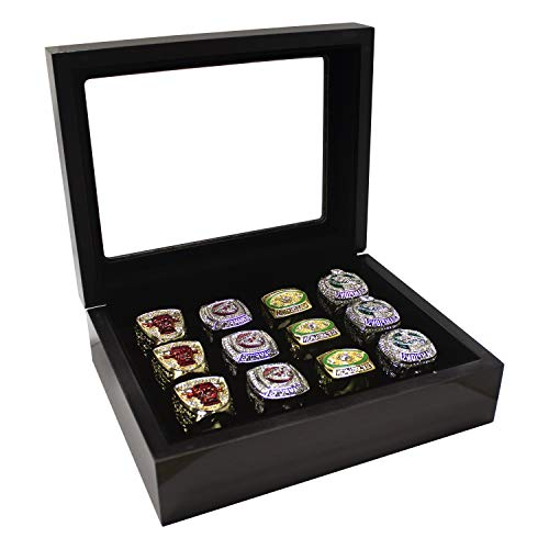 WISHDIAM Sports Ring Display Case Sports Ring Storage Box Wooden Black Flat (12 Slots, Flat)