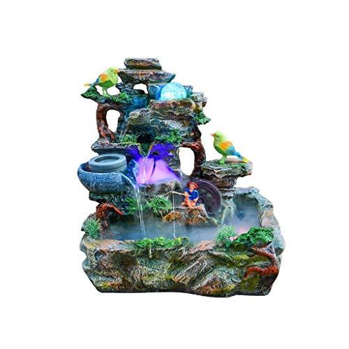 SKK Fuente de agua creativa Fuente de rocosa, de resina, para interiores, para el hogar, jardín, oficina, humidificador de escritorio, decoración creativa de regalo de cumpleaños (color : B)